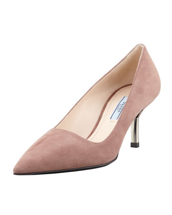Low-Heel Suede Pointed-Toe Pump, Dark Rose