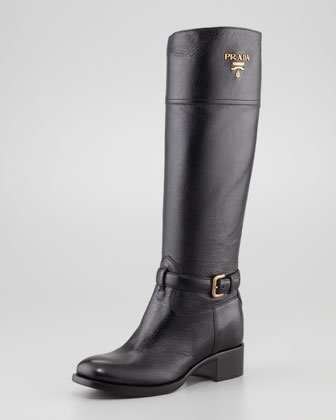 Tall Pebbled Leather Riding Boot, Black