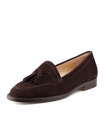 Aldena Tasseled Suede Loafer, Chocolate Brown