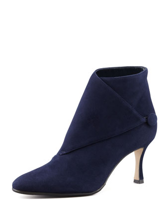 Diaz Suede Button-Wrap Bootie, Navy