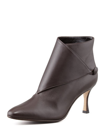 Diaz Leather Button-Wrap Bootie, Chocolate Brown
