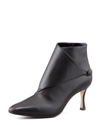 Diaz Leather Button-Wrap Bootie, Black