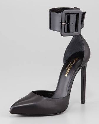 Paris Buckled Ankle-Strap Pump, Black