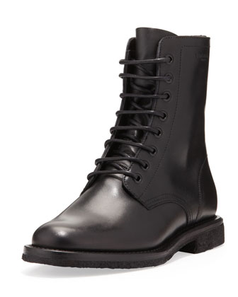 Flat Lace-Up Ranger Boot, Black