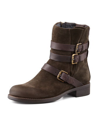 Triumvirate Suede Buckled Ankle Boot, Olive