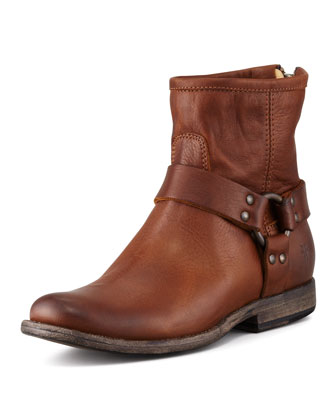 Phillip Harness Biker Boot, Cognac