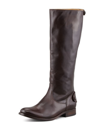 Melissa Leather Back-Zip Boot, Dark Brown