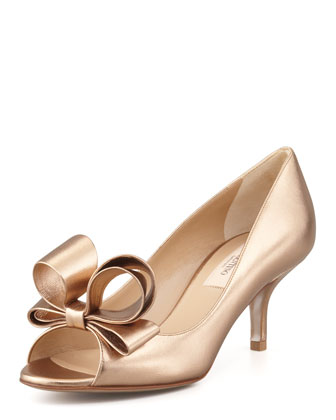 Bow Open-Toe Leather Pump, Bronze