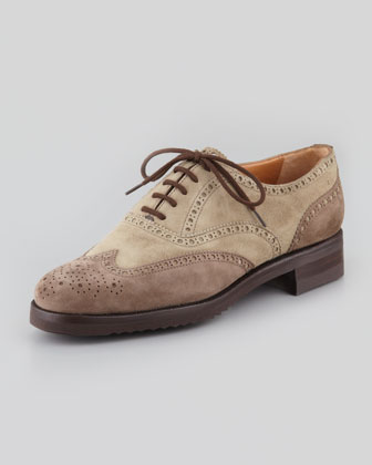 Two-Tone Perforated Wing-Tip, Taupe/Gray