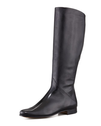 Low-Heel Side-Zip Tall Boot, Black