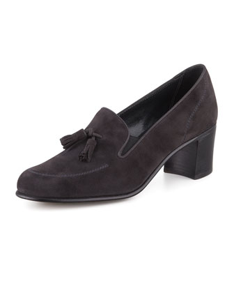 High-Heel Tassel Loafer, Gray