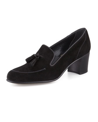 High-Heel Tassel Loafer, Black