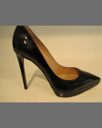 Patent Leather Platform Point-Toe Pump, Black