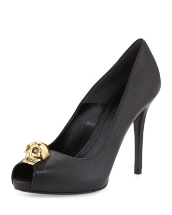 Skull-Ornament Peep-Toe Pump