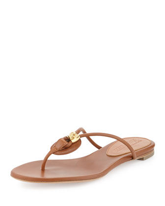 Leather Skull-Bead Flip Flop, Tan