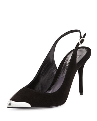 Metal-Tipped Pointed-Toe Slingback, Black