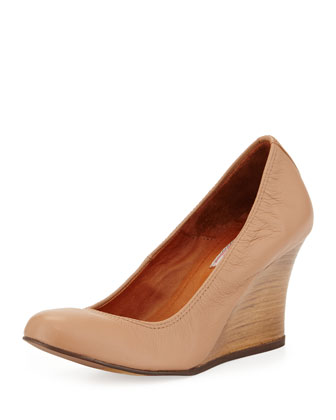 Ballerina Leather Wedge Pump, Beige