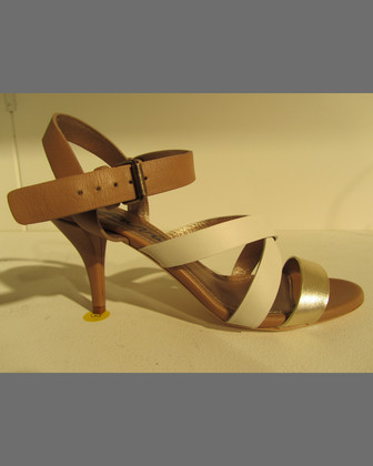 Low-Heel Strappy Leather Sandal, Beige