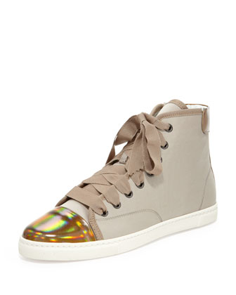 High-Top Cap Toe Sneaker, Beige