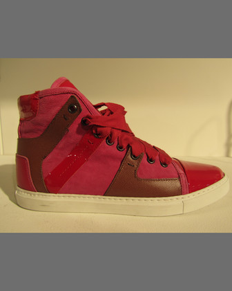 Leather High-Top Sneaker, Fuchsia