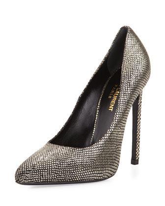 Paris Metallic Snake-Print Pump, Black/Gold