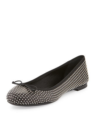 Studded Dance Ballerina Flat, Black
