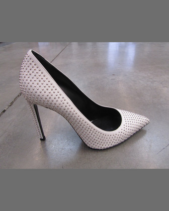 Paris Studded Pointed-Toe Pump, White/Silver