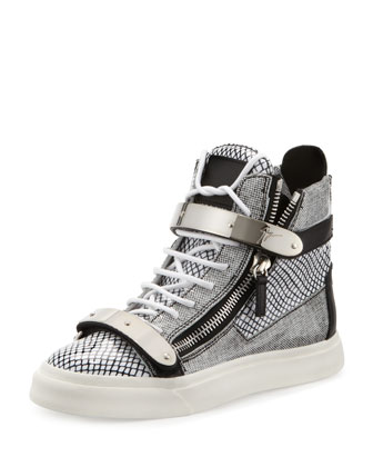 Printed Zip & Buckle High-Top Sneaker, Black/White