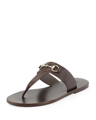 Horsebit Flat Thong Sandal, Brown