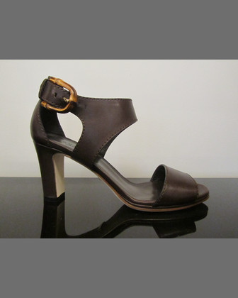 Mid-Heel Leather Sandal, Brown
