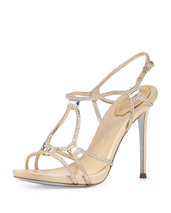 Metallic Crystal Gladiator Sandal, Gold