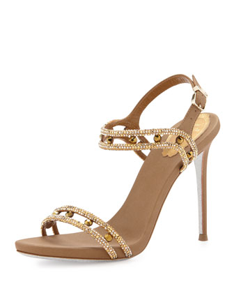 Crystal-Embellished Satin Sandal, Gold