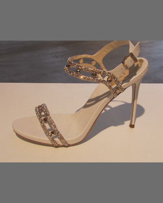 Crystal-Embellished Satin Sandal