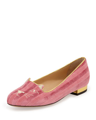 Kitty Striped Velvet Slipper, Candy Pink