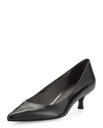 Poco Kitten-Heel Leather Pump, Black