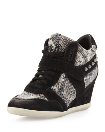 Bisou Snake and Suede Wedge Sneaker, Black