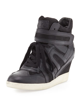 Beck Bis Mixed-Media Wedge Sneaker