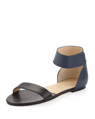 Two-Tone Flat Leather Sandal, Blue/Black
