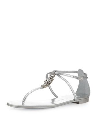Metallic Crystal Thong Sandal, Silver