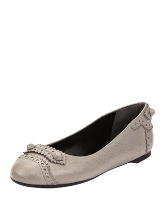 Arena Studded Brogue-Trim Ballerina Flat, Gray