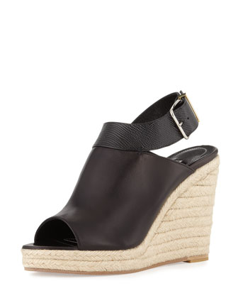 Slingback Glove Wedge Sandal, Black