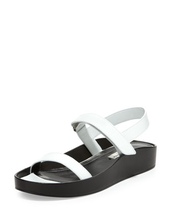 Pads Flat Leather Sandal, White