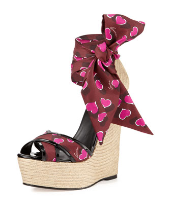 Crisscross Sash-Wrap Jute Wedge