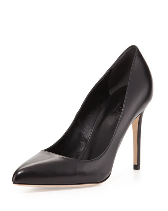 Leather Point-Toe Pump, Black