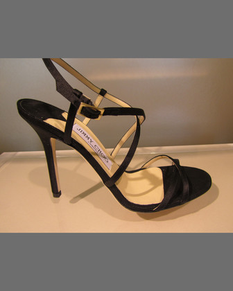 Elaine Suede Strappy Sandal, Black