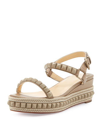 Cataclou Studded Platform Wedge Sandal, Beige
