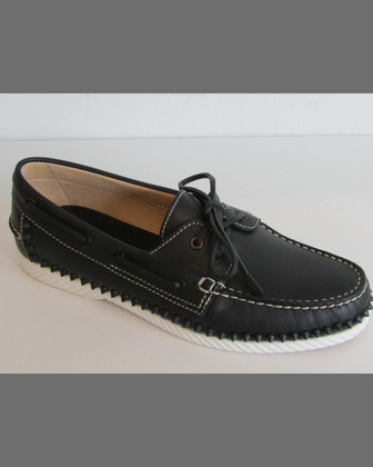 Steckel Spike-Midsole Calfskin Boat Shoe, Black