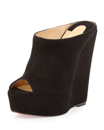 Affiche Peep-Toe Wedge Slide, Black