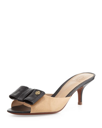 Audrina Leather Bow Slide, Beige/Black