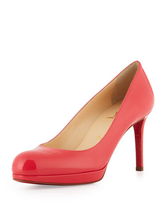 New Simple Patent Leather Platform Red Sole Pump, Pink